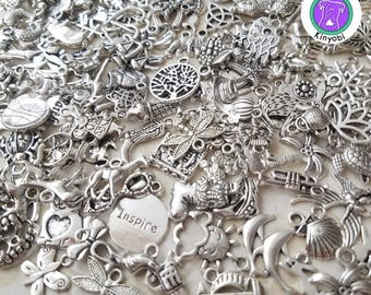 Bulk silver charm mix, random mix of silver charms for crafts and jewelry making, silver wholesale charms, 200/250/300/350 fast shipping