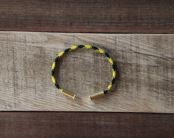 BRZN Bullet Casing Bracelet Bumblebee Camo recycled .22lr shells yellow black camo 550 paracord wire men women