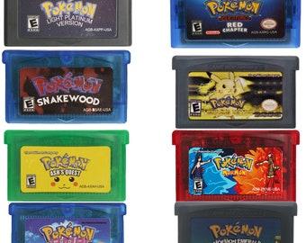 Pokemon Rom Hacks Glazed, Light Platinum, Lightning Yellow, Snakewood, Moe Mon, Emerald Moe Mon, Red Chapter, & Ash Guest Custom Cart. GBA