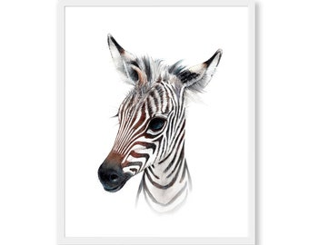 Zebra Print Wall Art, Baby Zebra Watercolor Painting, Safari Animal Portrait, Zebra Nursery Decor, Zebra Art, Girl, Boy, Neutral Nursery Art