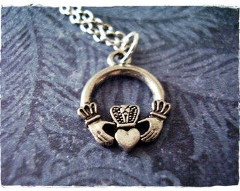 Silver Claddagh Necklace - Silver Pewter Claddagh Charm on a Delicate Silver Plated Cable Chain or Charm Only
