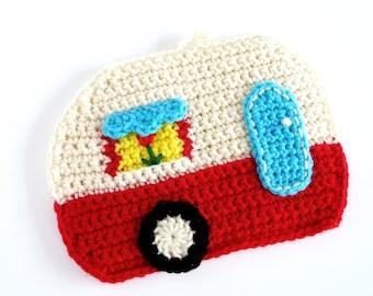 Crochet Camper Pot Holder RV Pot Holder RV Decor Camper Decor Hot Pads Trivets For Glampers Outdoorsman Traveler Home Decor Red Blue