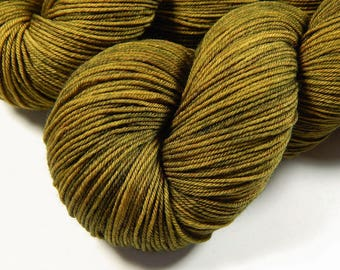 Hand Dyed Sock Yarn, Sock Weight 4 Ply Superwash Merino Wool Yarn - Olive Oil Tonal - Knitting Yarn, Fingering Yarn, Golden Olive, DIY Gift