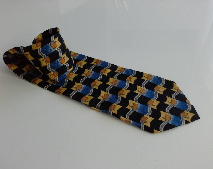 Vintage Trent Nathan Black Blue Yellow Silk Tie Italy c1970's  Loud & Wide