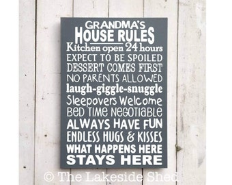Grandma's House Rules | Grandma Sign | Grandma Plaque | Grandma Gift | Nannie gift | Grandparents House Rules | Grandmother Gift | Granny