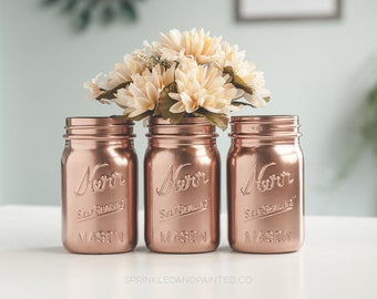 Rose Gold Vases, Rose Gold Organizing Jars, Rose Gold Wedding Decor, Baby Showers, Bridal Showers
