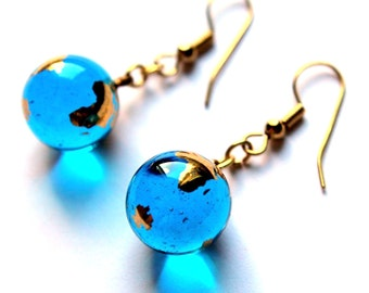"""12mm (0.5"""") 22ct Gold Planet Earth Glass Marble Earrings - World Astronomy Globe"""