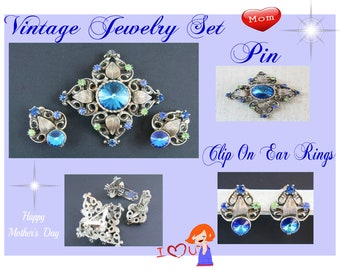 Vintage Blue Green Rhinestone Brooch Earrings SET- Estate Auction Item-  Beautiful Estate Jewerly Set with Reduced shipping