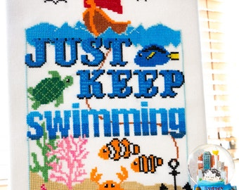 Swimmingly Cross Stitch Pattern - Just Keep Swimming - Digital PDF Pattern