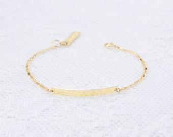 Dainty Bar Bracelet, Gold Bar Bracelet, Nameplate Bracelet, Layering Bracelet, Skinny Bar Bracelet, Gold Filled Bracelet, Everyday Jewelry.