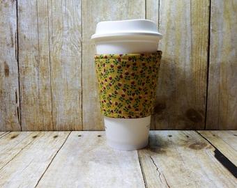 CLEARANCE / Fabric Coffee Cozy / Country Tulip Coffee Cozy / Flower Coffee Cozy / Tulip Coffee Cozy / Coffee Cozy / Tea Cozy