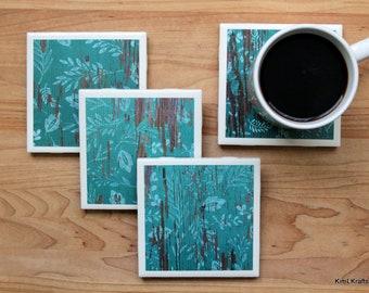 Coaster Set - Table Coasters - Turquoise Coasters - Coaster - Tile Coaster - Coasters for Drinks - Coasters Tile - Rustic Coasters