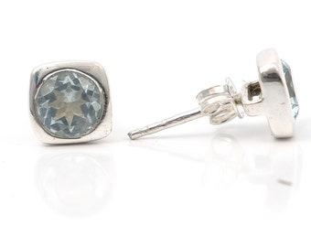 Blue topaz 92.5 sterling silver earring