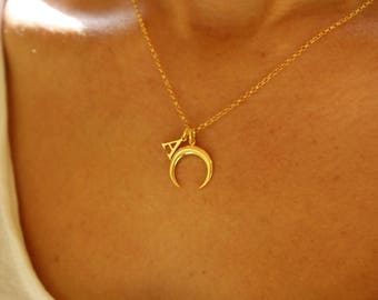 Initial Necklace, Crescent Moon Necklace, Dainty Necklace, Personalized Necklace, Moon Phase Necklace, Necklaces For Women, Mother Gift