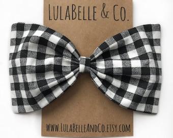 Black and White Buffalo Plaid (Lumberjack) LulaBelle Bow