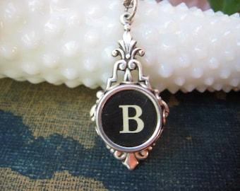 Typewriter Key Jewelry - Typewriter Key Initial Necklace Letter B