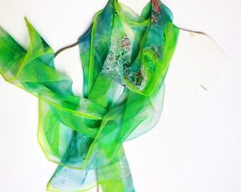 Silk scarf, green ladies scarves, neck scarf for women, silk shawl, hand painted skinny silk scarf 18x72