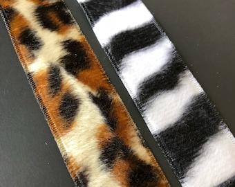 Leopard and Zebra faux fur ribbon trim 1 inch wide.  3 yard rolls  Free domestic shipping
