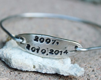 Important Years Bangle Bracelet / Years Bangle Bracelet /  Charm Bangle Bracelet / Gift for Girlfriend / Most Important Years Bangle