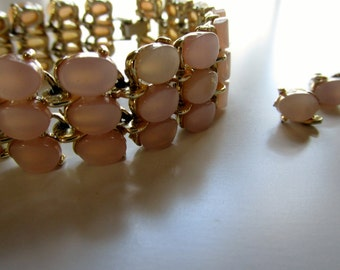 Vintage Gold & Pink Thermoset Bracelet with Matching Earrings
