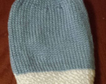 Knit Pastel Blue and White Slouch Beanie for Women