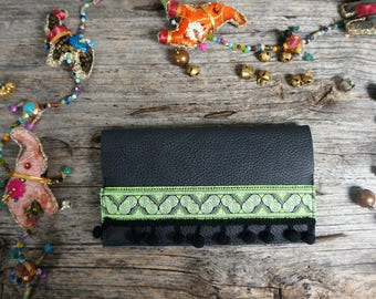 Gipsy bohemian black wallet with ethnic ribbon and pompon stripes