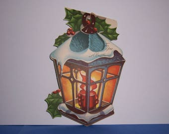Vintage Christmas Card, Ornament Card, Lantern, Hang Tag,  Dual Sided, Double Sided, 1940's