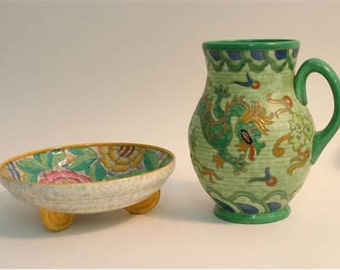 A Charlotte Rhead Crown Ducal Manchu jug and Persian rose bowl (2).