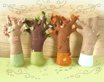 Plush Pattern Happy Seasons Trees, PDF Download, Woodland, Felt Plush Sewing Pattern, Felt Toys, Woodland Nursery Decor, Soft Toys
