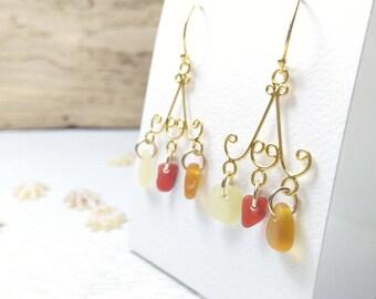 Chandelier Earrings// Genuine Sea Glass// Red, yellow + caramel// Sea Glass Earrings// Red Sea Glass// Rare Seaglass// Sea Glass Jewelry