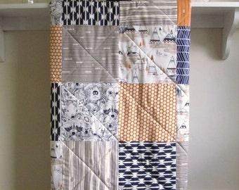 Baby Quilt Handmade Boy, Rustic Nursery, Woodland Crib Bedding, Orange, Navy Quilt, Minky Back, Crib Quilt, Navy Baby Bedding, Indian Sunset