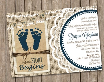 Rustic Baby Boy Shower Invitation over Brown Kraft Paper, Burlap and Lace with Navy Blue Footprints - printable 5x7
