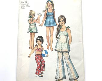 Vintage Simplicity 8813 Girl Childs Bathing Swim Suit and Bell Bottom Pants Size 14 Bust 32 Uncut Sewing Pattern
