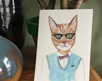 Peinture à l'aquarelle Humoreless Hall Chat tigré - 5 x 7 chat aquarelle PRINT - gingembre Tabby chat - Nursery Wall Art - drôle de chat Story - chat cadeau
