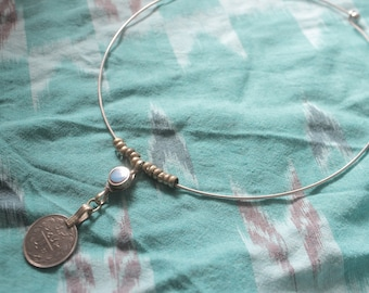 Vintage chocker pewter choker necklace with turquoise stone & coin pendant gypsy boho festival