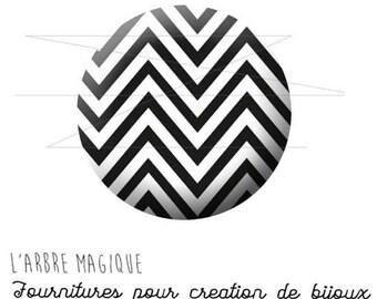 Cabochon 25 mm black and white herringbone 1546 fancy