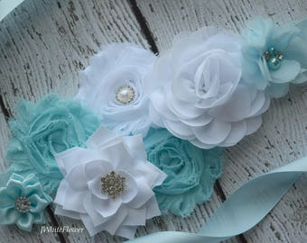 Flower Sash, baby blue  white   Sash  , flower Belt, maternity sash
