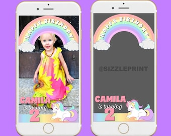UNICORN GEOFILTER  Plus Family & Friends Message   Custom Personalized Snapchat Geofilter   Girl  Birthday Party   Unicorn Theme Party