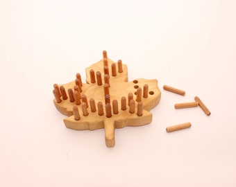 Wooden board game | Wooden toy | Maple leaf | Educational toy | Gift for a girl or boy | Scroll saw | Montessori toys | Pegs