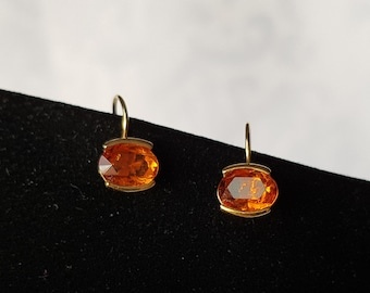 Amber Glass Earrings, Vintage Amber Glass Earrings, Vintage Earrings, Gold and Amber Earrings, Earrings