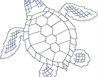 Embroidered Hand Towel or Dish Towel - Toile Sea Turtle