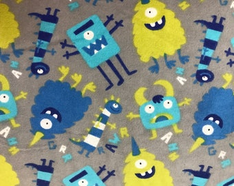 FLANNEL - Blue and Green Sleepy Monsters Fabric - Night Time Monsters - Scary Monsters - Cartoon Monsters - Boy Monsters - Girl Monsters