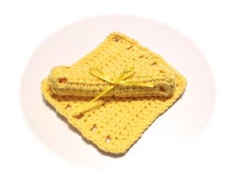 Gelbe gehäkelte Platz Baby waschen Tücher-paar