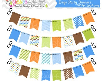 INSTANT DOWNLOAD, blue and green bunting banner clipart for personal and commercial use