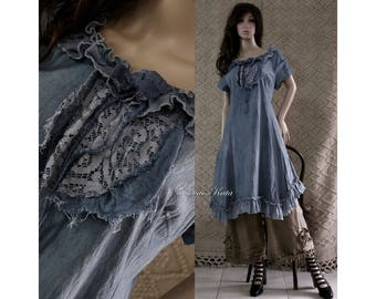 Emmi Blue - Romantic Hand Dyed Linen Dress with Frills and Antik Lace Lagenlook Clothing Made to Order