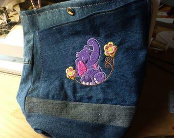 funny girl bag, elephant, jeans shopper for children