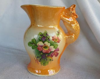 Vintage Porcelain Lusterware Handpainted Pitcher Creamer with Cat Handle 1930s  Czecho Slovakia