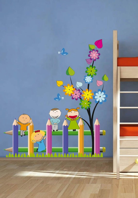 Kids School Fence Playing Nature Children Full Color Wall
