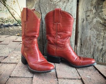 Red Cowboy Boots Women's Size 6 Cowgirl Boots, Red Leather Boots, Wonder Woman Boots