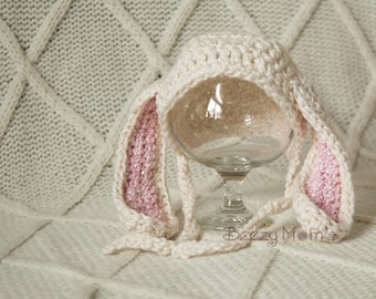 Organic Newborn Bunny hat,Organic baby hat, Baby bunny hat, Easter hat - Photo prop